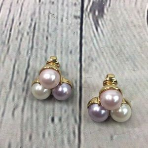 Trifari triple faux pearl clip on earrings